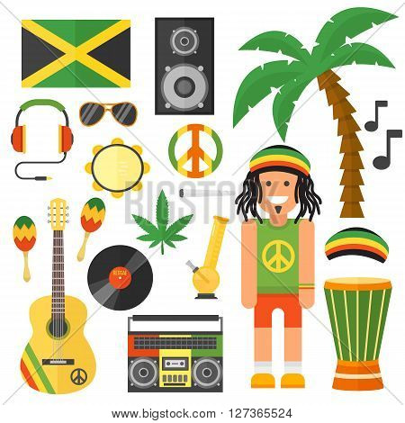 Reggae artist musical instrument and rastafarian elements collection vector illustration. Rastafarian jamaica green vector and rastafarian music art style. Jamaica rastafarian african culture.