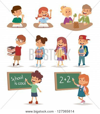 Group school kids going study together, childhood happy primary education character vector. School kids education and happy school kids study at primary school. School kids preschool classroom.