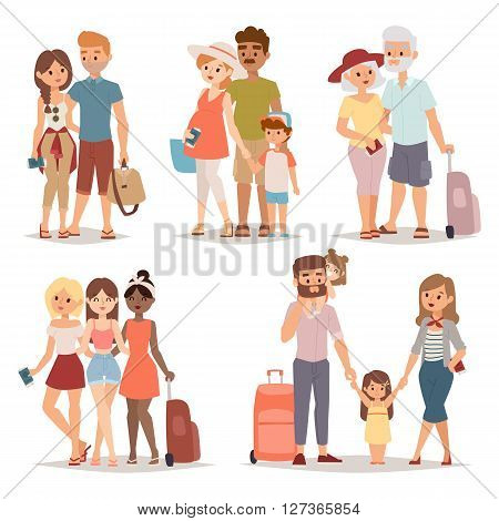 Different people on vacation and vacation people traveling. Vacation people happy family travel together. Traveling family group people on vacation together character flat vector illustration.
