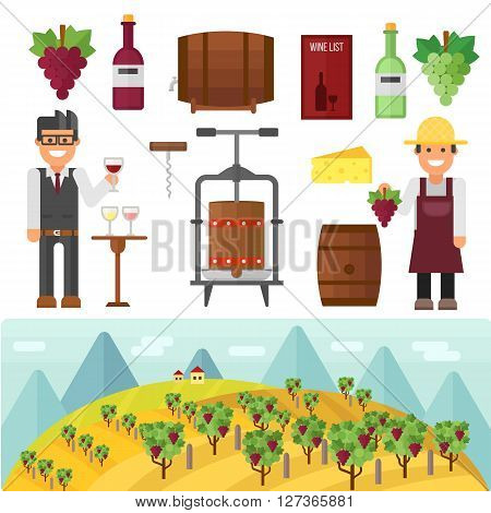 Vinery farm and vinery grape agriculture making vector. Vinery agriculture working beverage, traditional vinery farm production with grape press and red wine bottle. Vinery production, vine making.