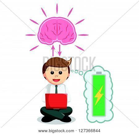 Business man working with full brain energy  .eps 10 vector illustration flat design