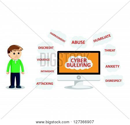 boy cyber bullying  .eps 10 vector illustration flat design