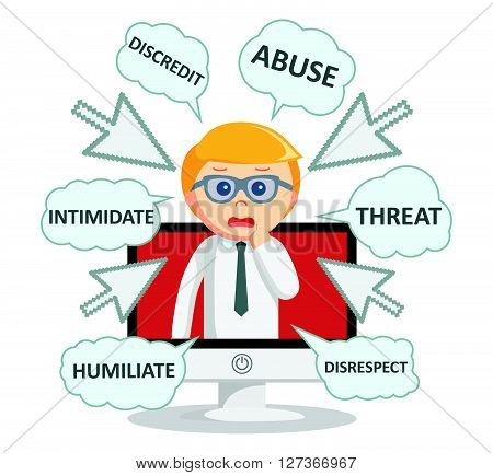 Business man digital bullying text  .eps 10 vector illustration flat design
