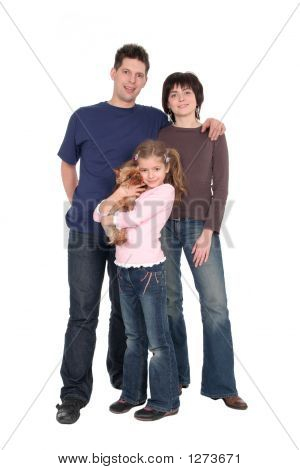 happy parents with daughter standing over white background poster