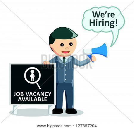 Business man job vacancy megaphone  .eps 10 vector illustration flat design