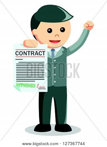 Business man showing contract .eps10 editable vector illustration design