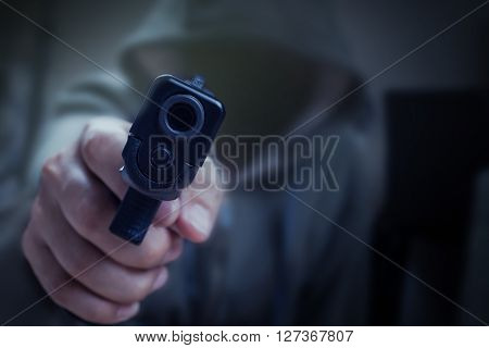 Gun In Hand And Pointing With Killer, Safety And Criminal Concept Background