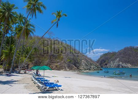 TORTUGA ISLAND COSTA RICA - MARCH 25 : Tropical beach in Tortuga island Costa Rica on March 25 2016. The island covers approximately 300 acres and includes forests and beaches