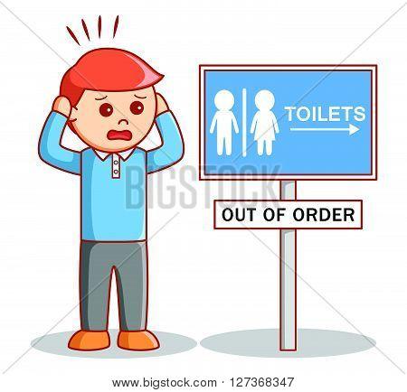 Man hurry toilet .eps10 editable vector illustration design