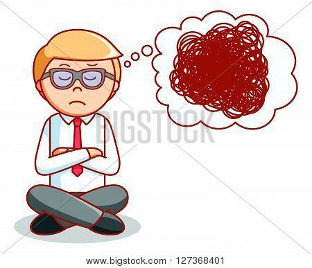 Business man depressed .eps10 editable vector illustration design