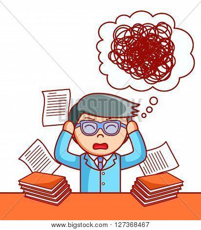 Business man stressed .eps10 editable vector illustration design