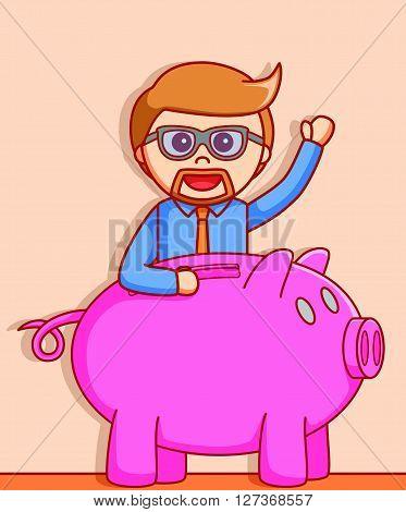 Business man piggy bank  illustration design  .eps 10 vector illustration flat design