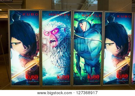LAS VEGAS - April 13 : A display for the movie 'Kubo and the Two Strings' at Caesars Palace during CinemaCon the official convention of the National Association of Theatre Owners on April 13 2016 in Las Vegas