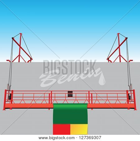 Industrial buildings with technological hoist and the flag of Benin.