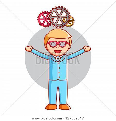 Business man gear progress .eps10 editable vector illustration design