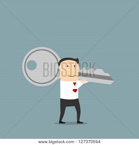 Key of success or solution key concept design usage. Cartoon confidently smiling businessman is carrying a huge key on shoulder