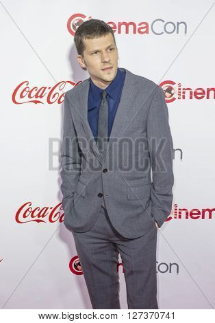 LAS VEGAS - APRIL 14 : Actor Jesse Eisenberg recipient of the Male Star of the Year Award attends the CinemaCon Big Screen Achievement Awards at The Caesars Palace on April 14 2016 in Las Vegas