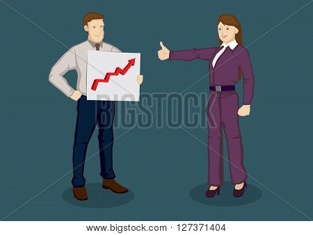 Cartoon businesswoman giving a thumbs up gesture to businessman holding a chart with up arrow. Vector illustration for compliments for good work concept isolated on plain background.