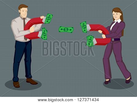 Businessman and businesswoman using magnets to attract dollar notes. Creative vector illustration on business rivals using strategies to attract business concept isolated on plain background.