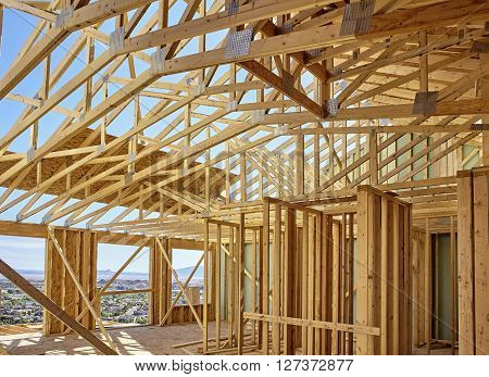 New Hillside Home Wall Framing And Scissors Roof Truss Details