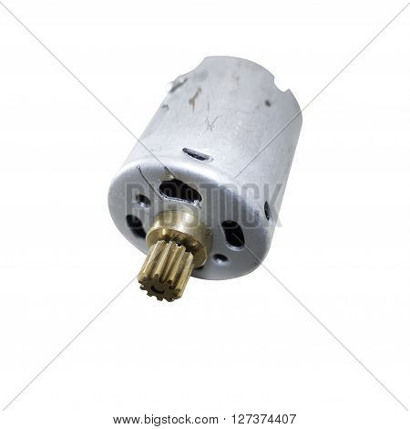 Close up photograph of a small electric motor of the type used in childrens remote toys. With a clipping path.