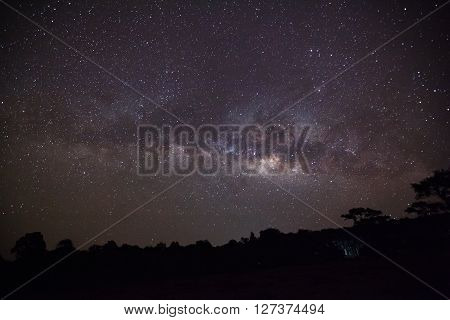 Silhouette Of Tree With Cloud And Milky Way At Phu Hin Rong Kla National Park,phitsanulok Thailand.