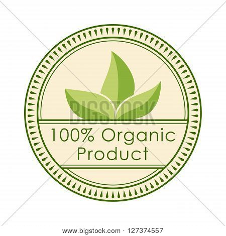 Round eco badge green stamp label of healthy organic natural fresh farm food vector. Organic badge label stamp. Round eco badge organic sticker and bio ecology eco badge design. Classic eco badge.