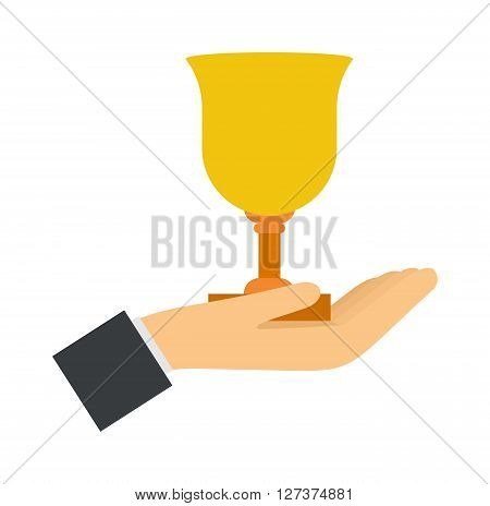 Trophy award in hand winning success achievement competition concept vector illustration. Award in hand winning concept and champion first award in hand. Hand holding award contest business.
