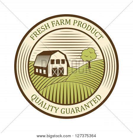 Flat farm logo label and design badge natural production vintage emblem vector. Farm badge organic logo and green farm badge field logo. Farm badge logo vintage fresh graphic element.