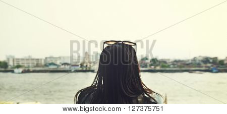Minimal River Asian Ethnicity Casual Journal Concept