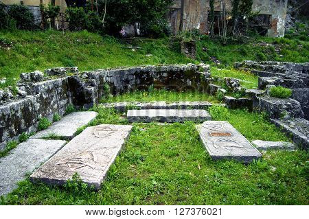 The ruins of the ancient church of St. Francis in Kotor, Montenegro
