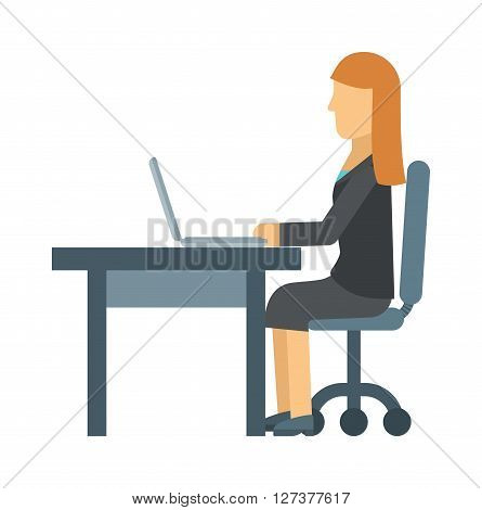 Business woman working on laptop computer at office table, business place computer, professional desk interior vector. Work place computer and professional work place. Work place corporate occupation.