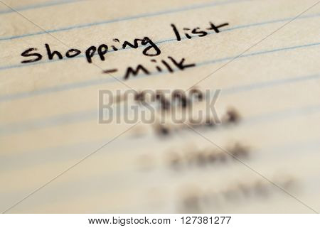 Shopping list written on paper for buying groceries on budget