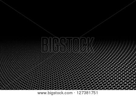 curve metallic mesh on black background. monochrome color. for web or printing background design.