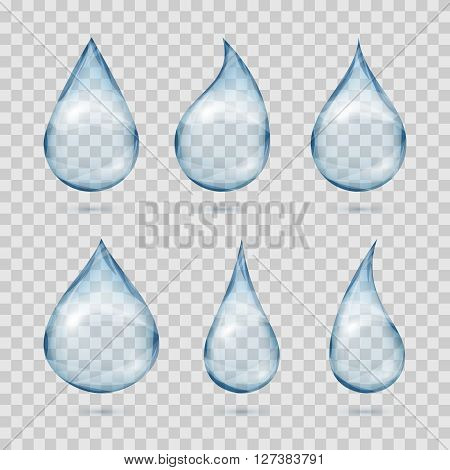 Falling transparent water drops. Water dew drops or rain drops on plaid background vector set