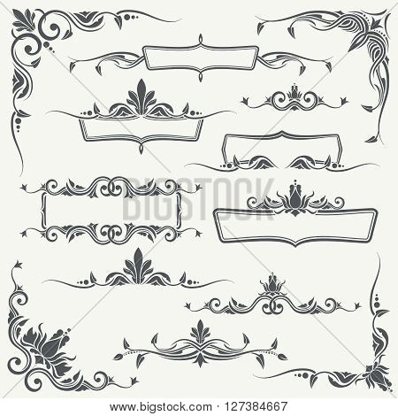 Vintage frames, corners and dividers with decorative floral ornaments. Floral divider and vintage floral decoration vector set