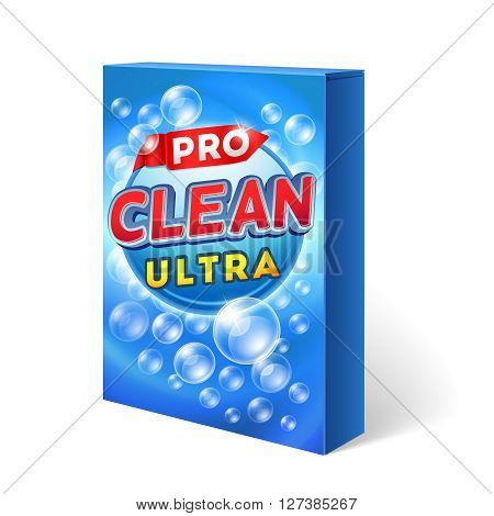 Powdered detergent design on cardboard package vector mockup. Powder washing chemical, packaging washing, bag, washing cleaning illustration