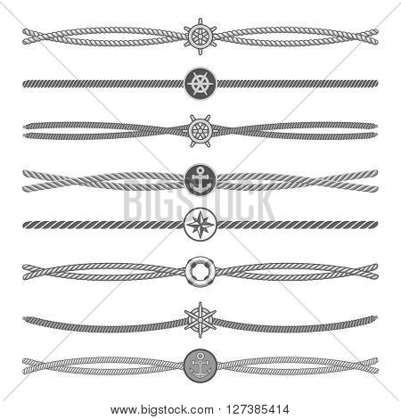 Marine ropes vector dividers and borders. Rope divider, marine rope line, rope dividers illustration