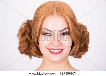 Ginger model with crazy hairstyle portrait shot