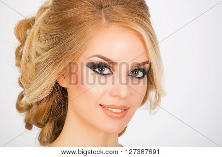 Bridal make up and hairstyle portrait shot