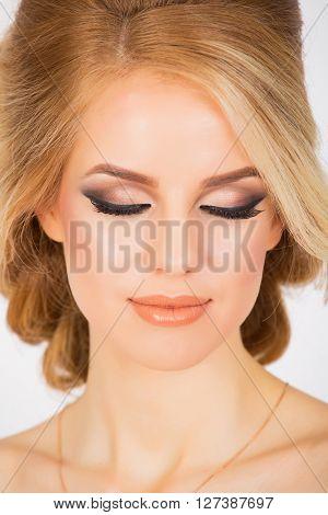 Bridal makeup for caucasian woman close up shot