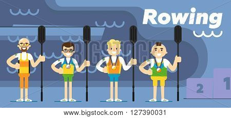 Rowing team costs about the podium with gold, silver and bronze medals with oars in their hands flat vector illustration. The sport.