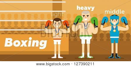 Boxing Team at awarding at ringside with a gold, a silver and a bronze medal in gloves flat vector illustration. The sport. Boxer.