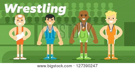 Wrestling team in the awarding of a gold, a silver and a bronze medal flat vector illustration. The sport.