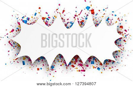 Paper figured white background with color confetti. Vector illustration.