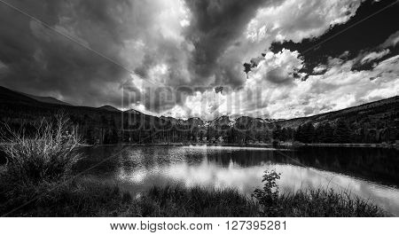 Sprague Lake Colorado Black And White