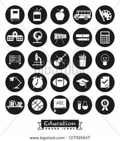 Education and school related round vector icons set