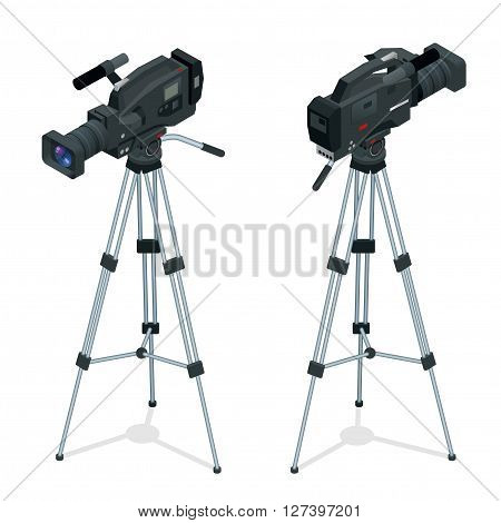Professional digital video camera set on a tripod. Film lens. Flat 3d vector isometric illustration