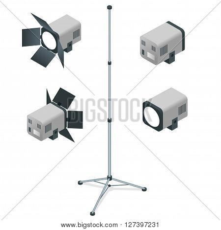 Spotlights realistic transparent background for show contest or interview vector illustration. White studio with spotlight. Flat 3d vector isometric illustration