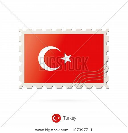 Postage Stamp With The Image Of Turkey Flag.